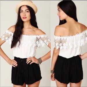 Stone Cold Fox Off The Shoulder Lace Top